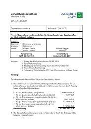 Übernahme von Bürgschaften für Kassenkredite ... - Landkreis Calw