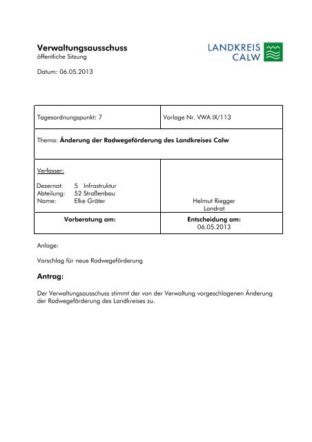 Verwaltungsausschuss - Landkreis Calw