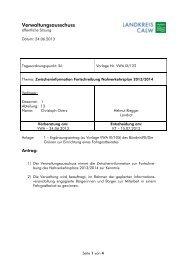 Zwischeninformation Fortschreibung ... - Landkreis Calw