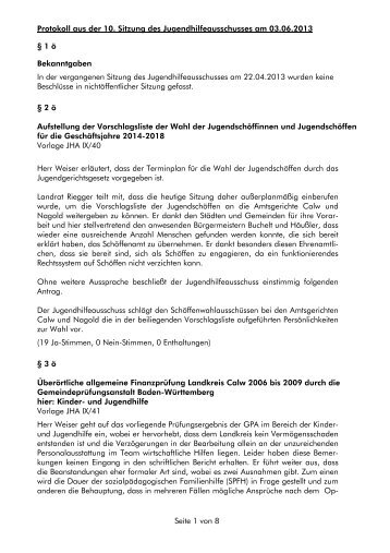 Protokoll aus der 10. Sitzung des ... - Landkreis Calw