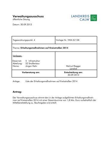 Erhaltungsmaßnahmen auf Kreisstraßen 2014 - Landkreis Calw