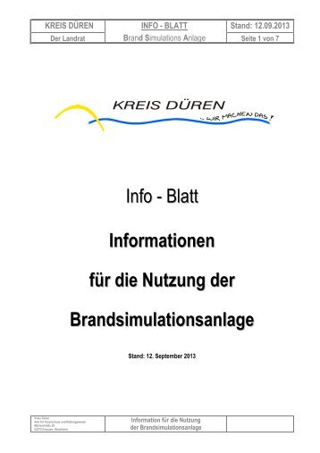 Infoblatt Brandsimulationsanlage - Kreis Düren
