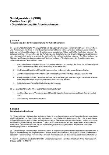Sozialgesetzbuch (SGB) Zweites Buch (II) - Grundsicherung für ...