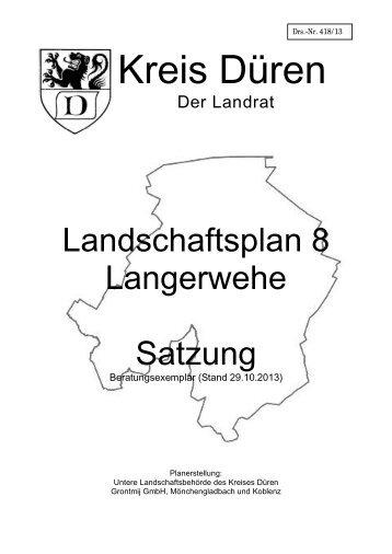 Satzung Landschaftsplan 8 Langerwehe - Kreis Düren