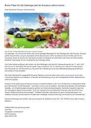 Bunte Flitzer für die Ostertage jetzt bei Europcar online buchen