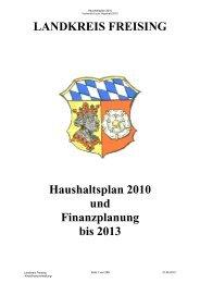 Haushaltsplan 2010 und Finanzplanung bis 2013 - Landratsamt ...