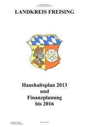 Haushaltsplan 2013 und Finanzplanung bis 2016 - Landratsamt ...