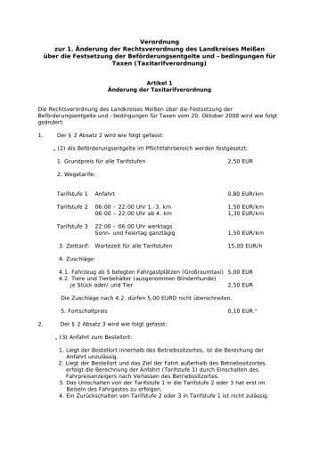 1. Änderung VO Taxitarife [Download,*.pdf, 0,01 ... - Landkreis Meißen