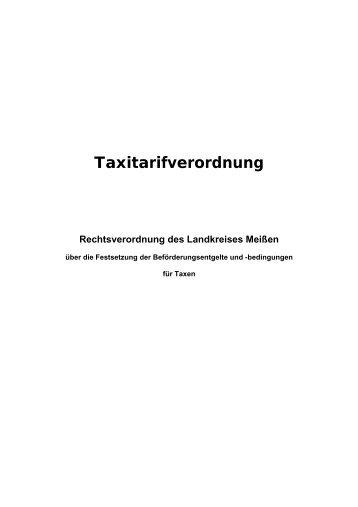 VO Taxitarife [Download,*.pdf, 0,02 MB] - Landkreis Meißen