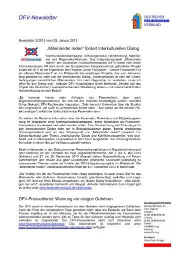 DFV-Newsletter 2/2013 - Deutscher Feuerwehrverband