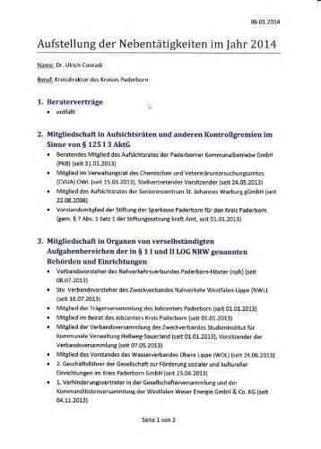 Aufstellung der Nebentätigkeiten im  ahr 201,4 - Kreis Paderborn