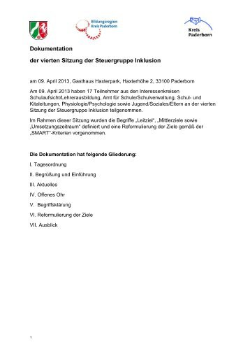 Inklusion-StG-Dokumentation130409 - Kreis Paderborn