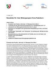 Newsletter Nr. 9 der Bildungsregion Kreis Paderborn