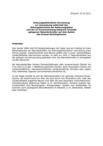 Entwurf des Verordnungstextes - Kreis Recklinghausen