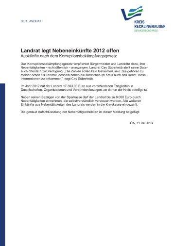 Landrat legt Nebeneinkünfte 2012 offen - Kreis Recklinghausen