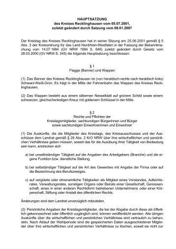 HAUPTSATZUNG des Kreises Recklinghausen vom 05.07.2001 ...
