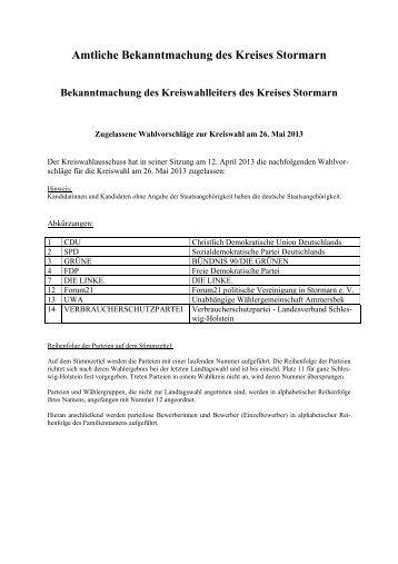 Listenwahlvorschläge der Parteien - Kreis Stormarn
