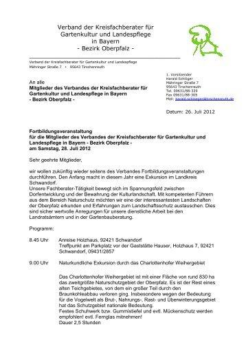 Verband der Kreisfachberater Oberpfalz Einladung zur Exkursion ...