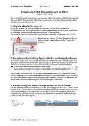 Umsetzung SEPA-Überweisungen in SFirm - Kreissparkasse ...