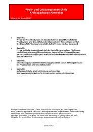 Preis- und Leistungsverzeichnis Kreissparkasse Ahrweiler