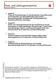 Preis- und Leistungsverzeichnis - Kreissparkasse Düsseldorf