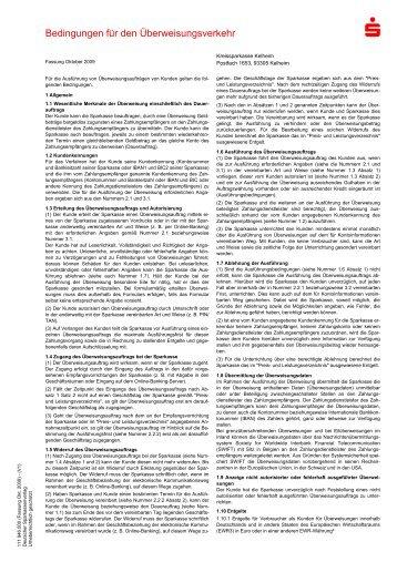Bedingungen für den Überweisungsverkehr - Kreissparkasse Kelheim