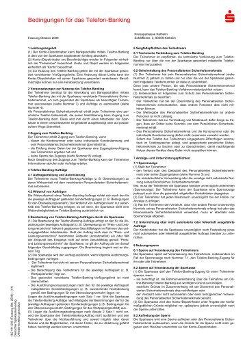Bedingungen für das Telefon-Banking - Kreissparkasse Kelheim