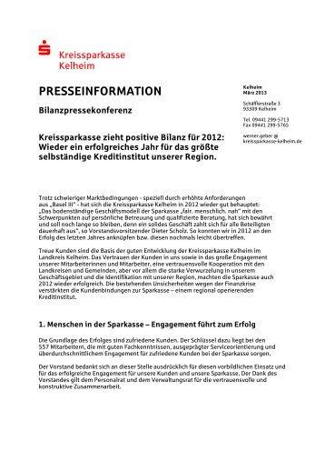 Geschäftsbericht 2012 - Kreissparkasse Kelheim