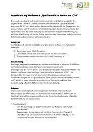 """Ausschreibung Wettbewerb """"Sportfreundliche Kommune ..."""