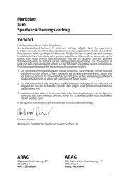 Merkblatt zum Sportversicherungsvertrag