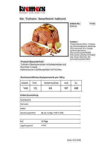 Del. Truthahn- Sauerfleisch halbrund