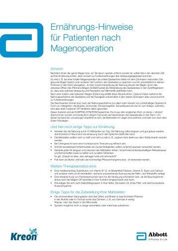 Ernährungs-Hinweise für Patienten nach Magenoperation - Kreon