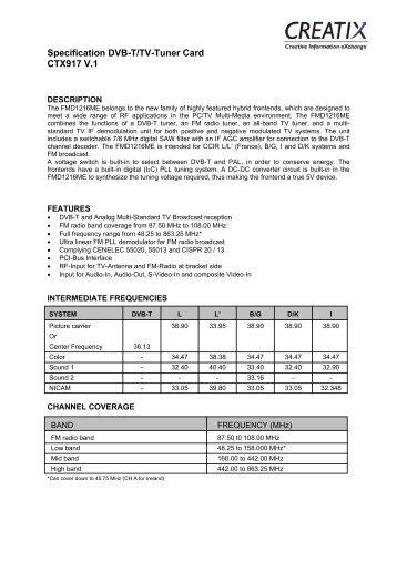 Specification Dvb-T/Tv-Tuner Card CTX917 V.1 - CREATIX