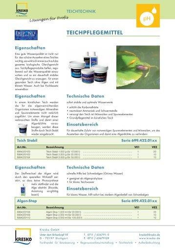 TEICHPFLEGEMITTEL - Kresko GmbH - Fachhandel für Gartentechnik