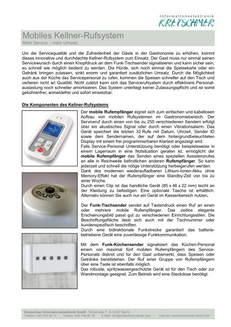 Mobiles Kellner-Rufsystem - KRETSCHMER Informationselektronik ...