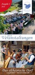 Veranstaltungen 2014 Markus Wasmeier Freilichtmuseum - Ausgabe 2