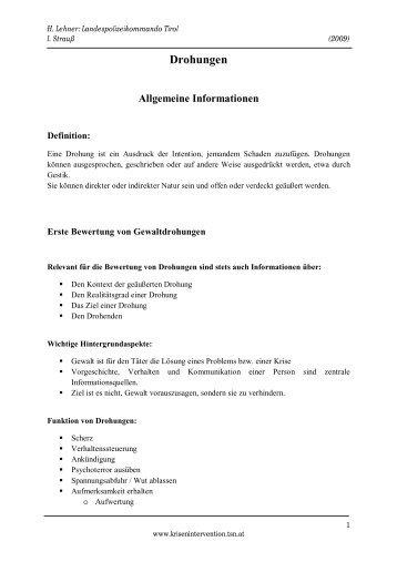 Drohungen - Allgemeine Information - TSN