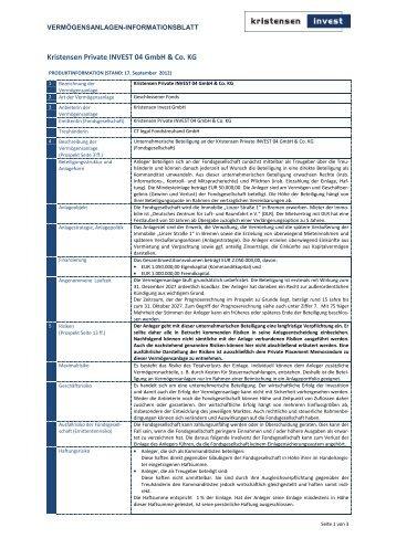 Vermögensanlagen-Informationsblatt - Kristensen Invest