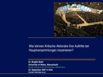 Präsentation von Brigitte Biehl - Dachverband der kritischen ...