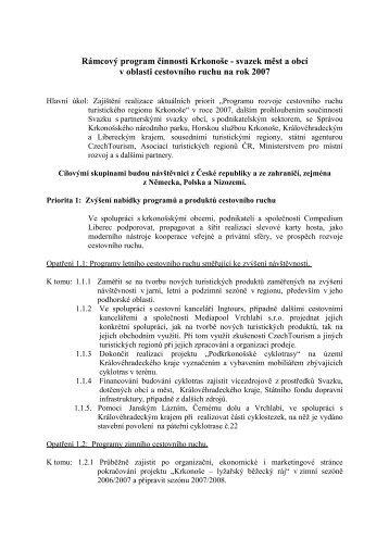 Program činnosti Krkonoše svazek měst a obcí v oblasti cestovního ...