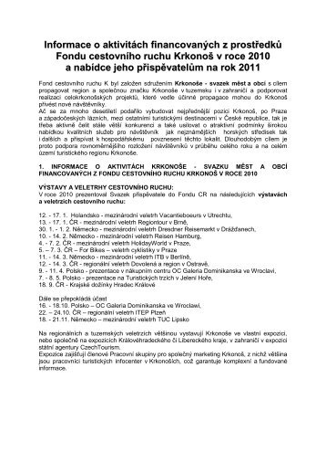 Informace o aktivitách financovaných z prostředků Fondu ... - Krkonoše