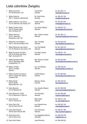 Seznam členů Svazku - Krkonose.eu