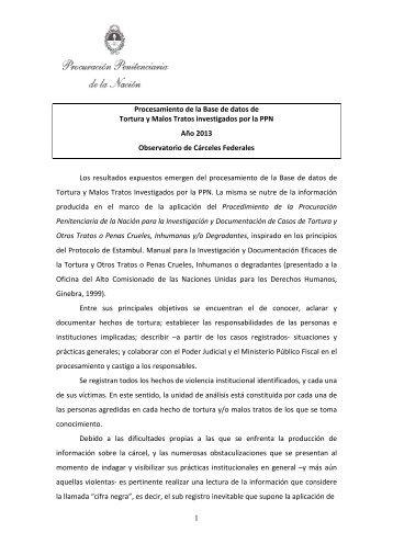 Procesamiento Base de Datos de Tortura y Malos Tratos investigados por la PPN (Año 2013)