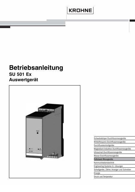 SU 501 Ex - Auswertgerät - BA - Betriebsanleitung