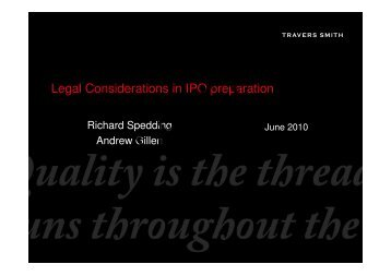 Legal Considerations in IPO preparation - Kromann Reumert