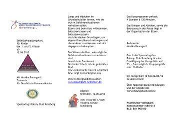 Selbstbehauptungskurs für Kinder der 1. und 2. Klasse ab 12.06 ...
