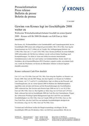 Bericht 1. Quartal 2009 - Krones AG