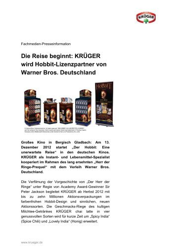 KRÜGER wird Hobbit-Lizenzpartner von Warner Bros. Deutschland