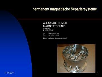 permanent magnetische Separiersysteme - Alexander Magnettechnik
