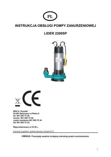 instrukcja obsługi pompy do nieczystości LIDER 2200SP.pdf - Krysiak